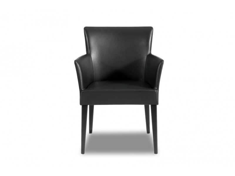 Leather easy chair with armrests ADELE - Canapés Duvivier