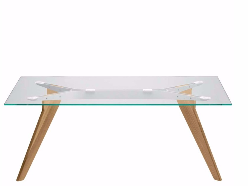 Rectangular wood and glass table AGO - AG1 | Wood and glass table - Alias