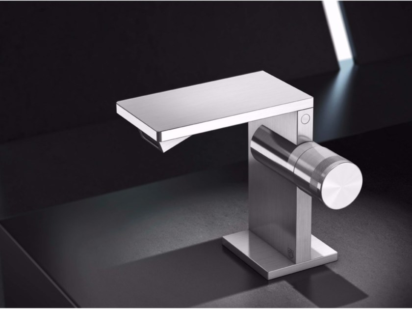 Countertop stainless steel bidet mixer without waste AIC4 | Bidet mixer - Radomonte