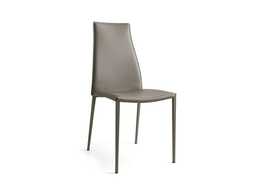 High-back bonded leather chair AIDA | Bonded leather chair - Calligaris