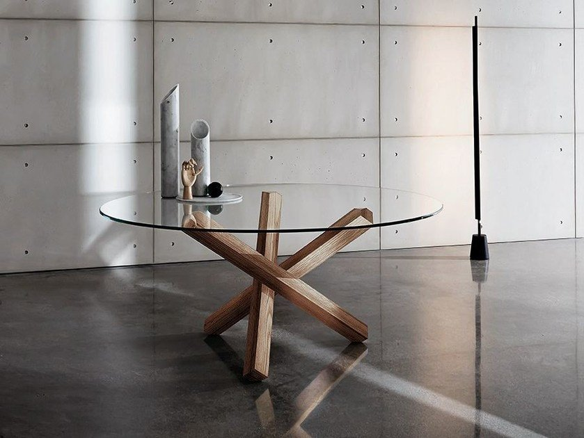 Round glass table AIKIDO ROUND - SOVET ITALIA