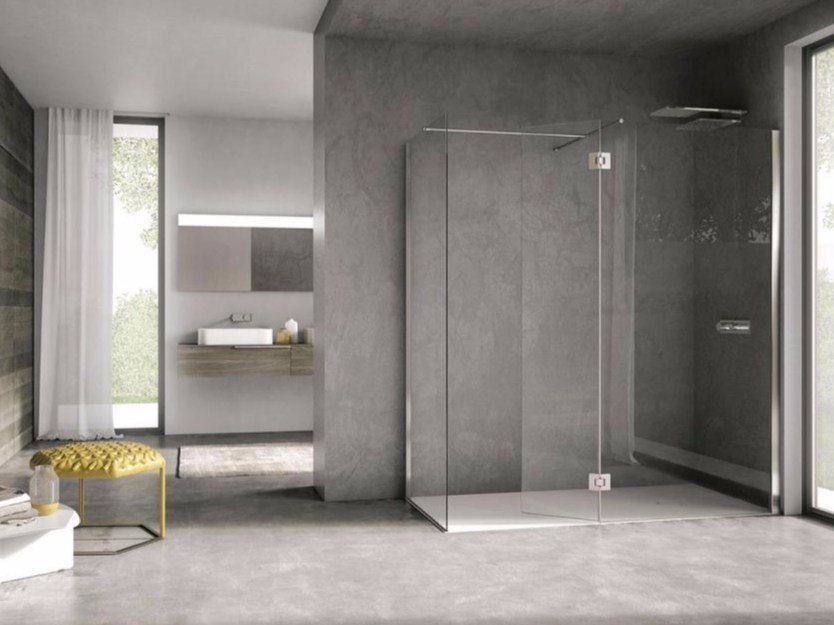 Crystal shower cabin with hinged door AIR - IdeaGroup