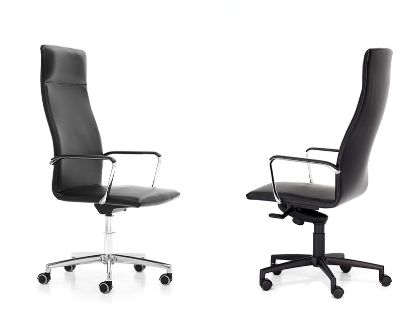 Leather executive chair with headrest with casters HARMONY | Executive chair by Polflex