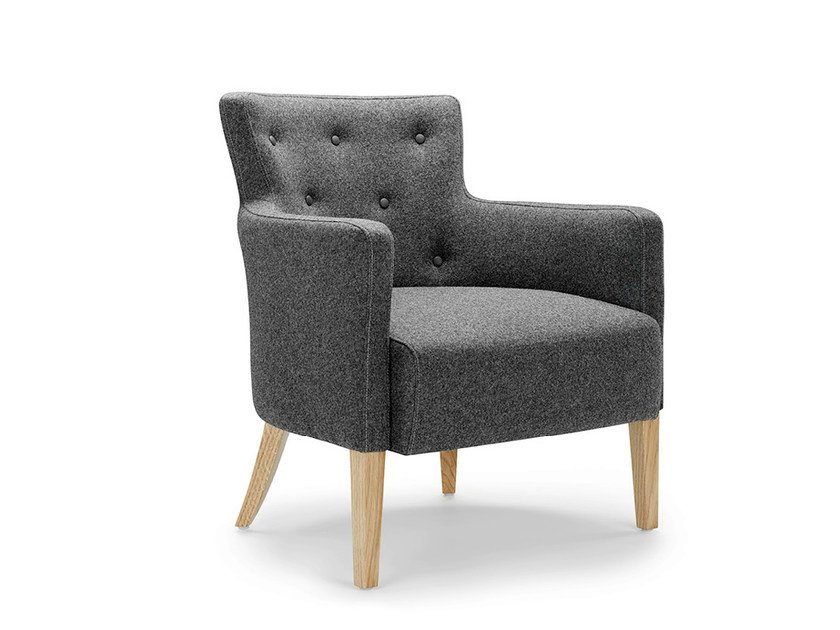 Upholstered fabric armchair with armrests ALBANY | Armchair by Boss Design