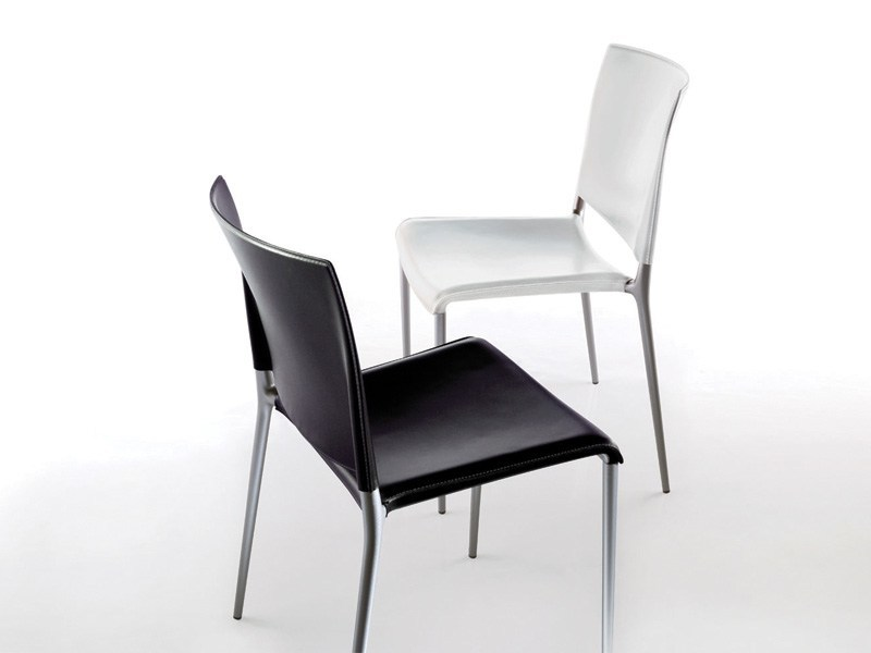 Stackable imitation leather chair ALEXA | Stackable chair - REXITE
