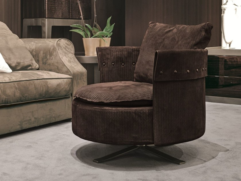 Fabric armchair with 4-spoke base CHARME | Fabric armchair - Fratelli Longhi