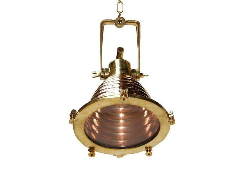 Direct light handmade brass pendant lamp ALGIERS COOPER CARGO LIGHT - Mullan Lighting