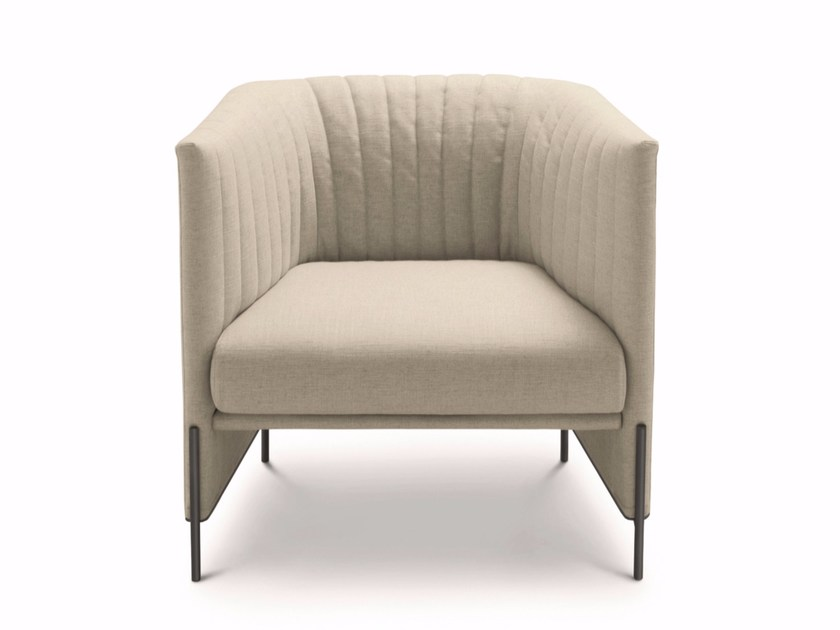 Upholstered armchair with quilted fabric cover ALGON | Fabric armchair - arflex