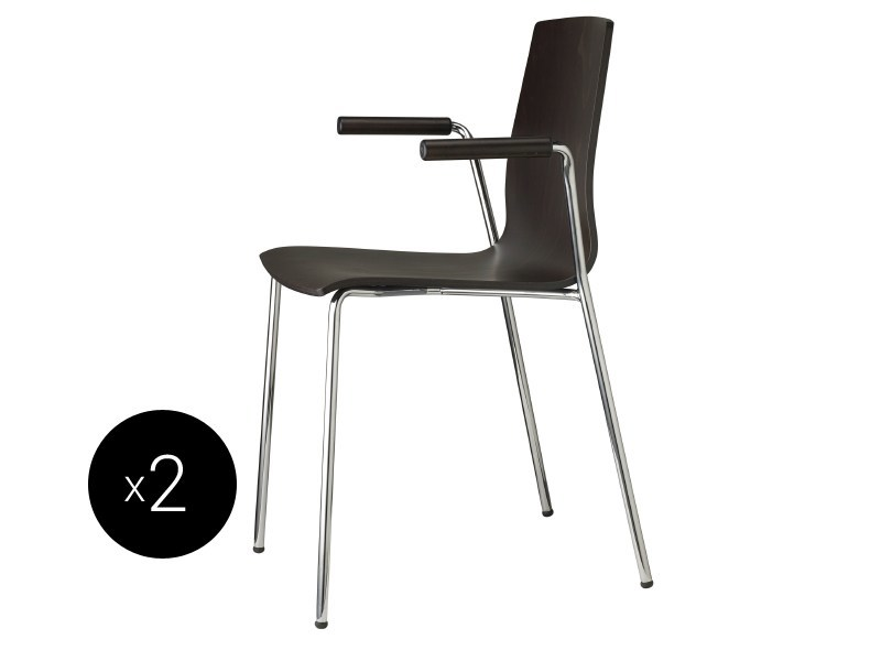 Stackable beech chair with armrests ALICE WOOD   Chair with armrests - SCAB DESIGN