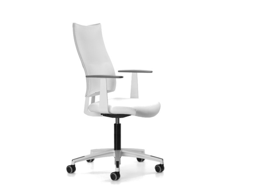 Mesh task chair with 5-Spoke base with armrests with casters ALLYNET 1760 by TALIN