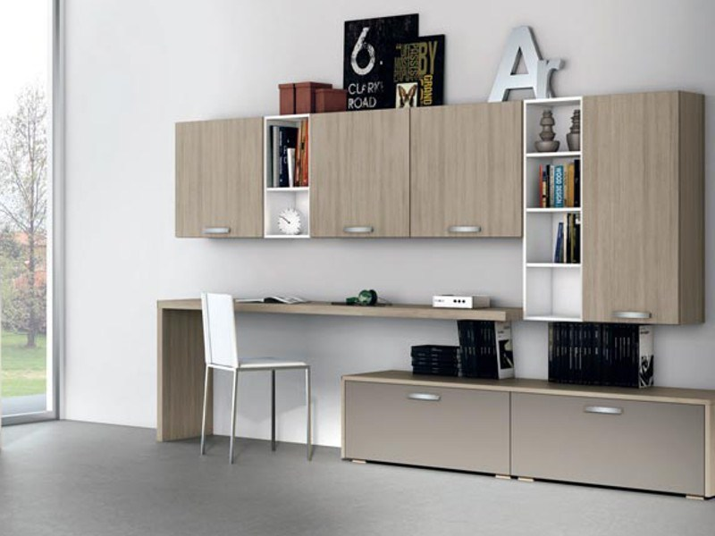 Sectional wall-mounted storage wall ALMA LIVING - CREO Kitchens by Lube