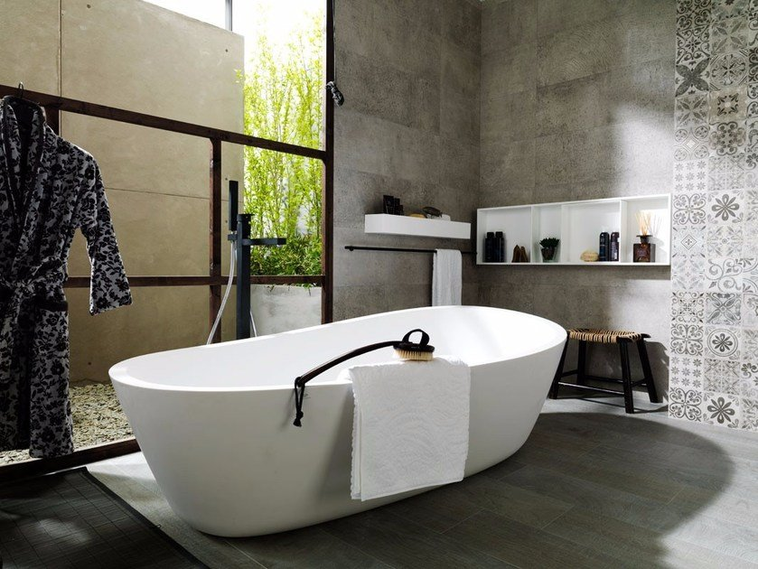 Freestanding Krion® bathtub ALMOND | Bathtub - Systempool
