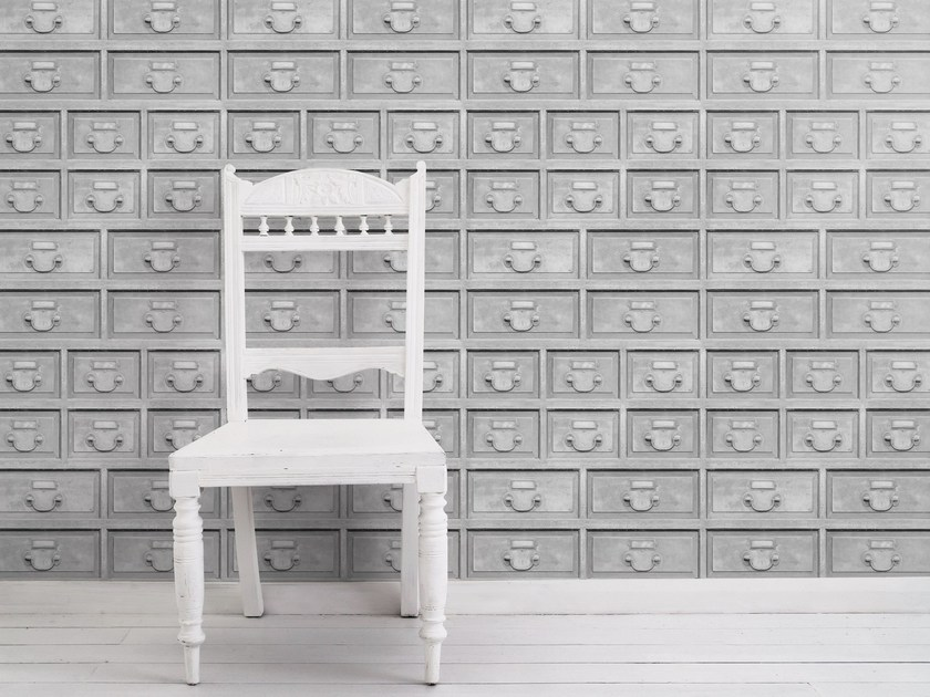 Motif wallpaper ALMOST WHITE INDUSTRIAL DRAWERS - Mineheart