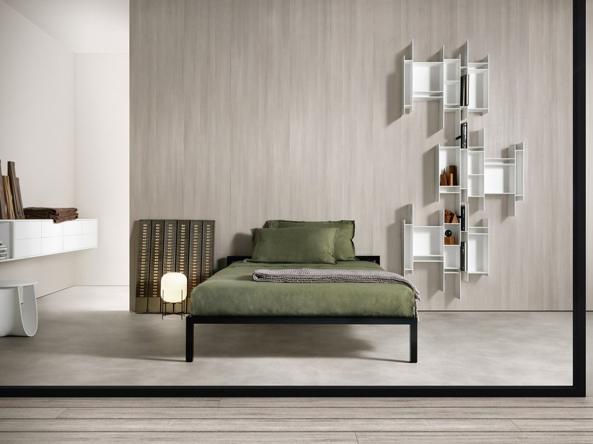 Aluminium single bed ALUMINIUM BED | Single bed by MDF Italia
