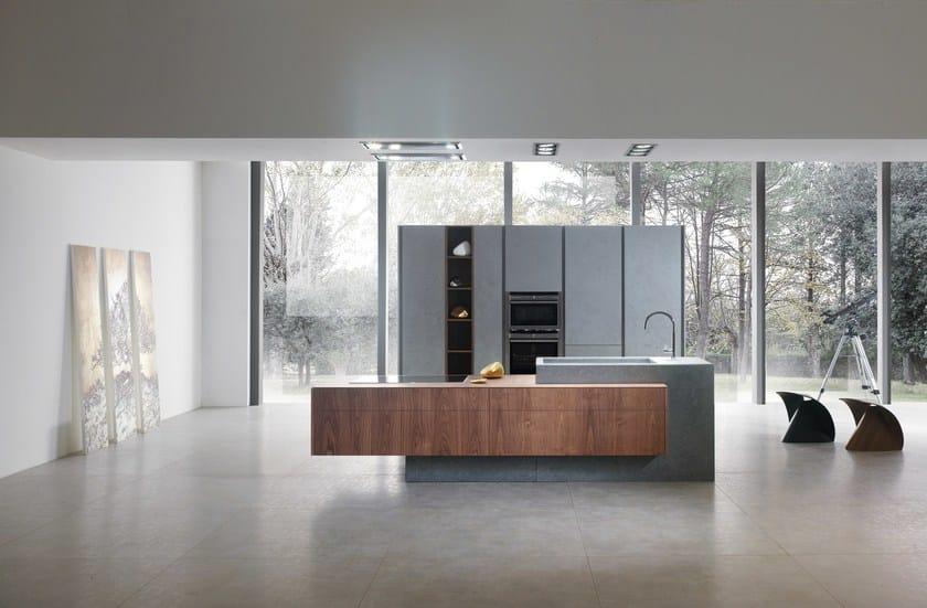 Cucina componibile in resina di cemento con isola ANDROMEDA | Cucina ...