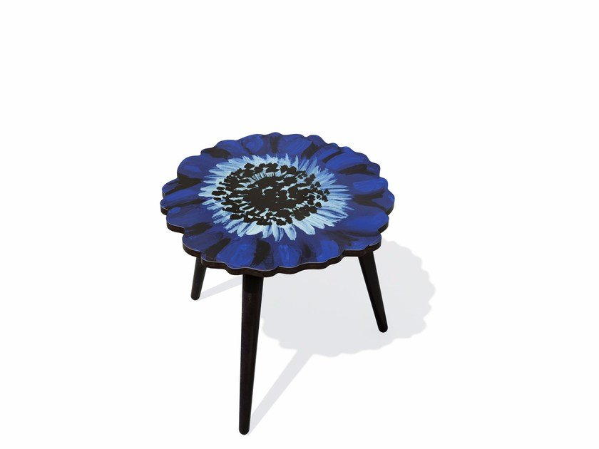 Beech wood and HPL side table ANEMONE S by Bazartherapy
