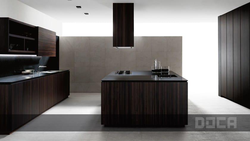 Wood veneer kitchen with island ANGON MOCCA - Doca