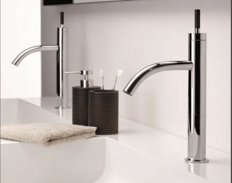 Contemporary style steel washbasin mixer with aerator with polished finishing with pop up waste ANOA CORNE NOIRE | 1 hole washbasin mixer - INTERCONTACT
