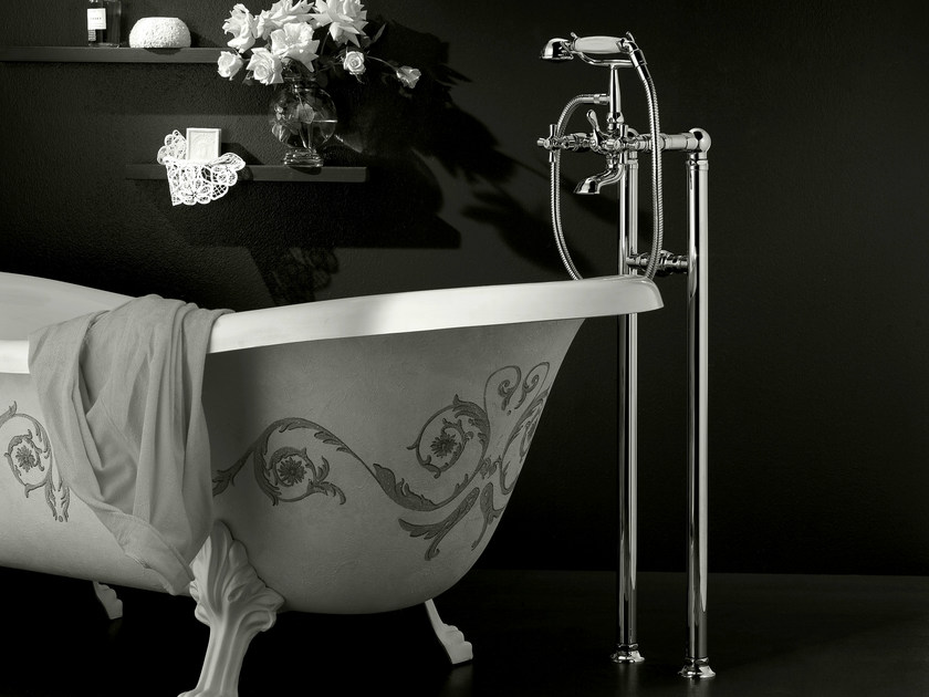 Floor standing bathtub tap with hand shower ANTICA | Floor standing bathtub tap - Signorini Rubinetterie