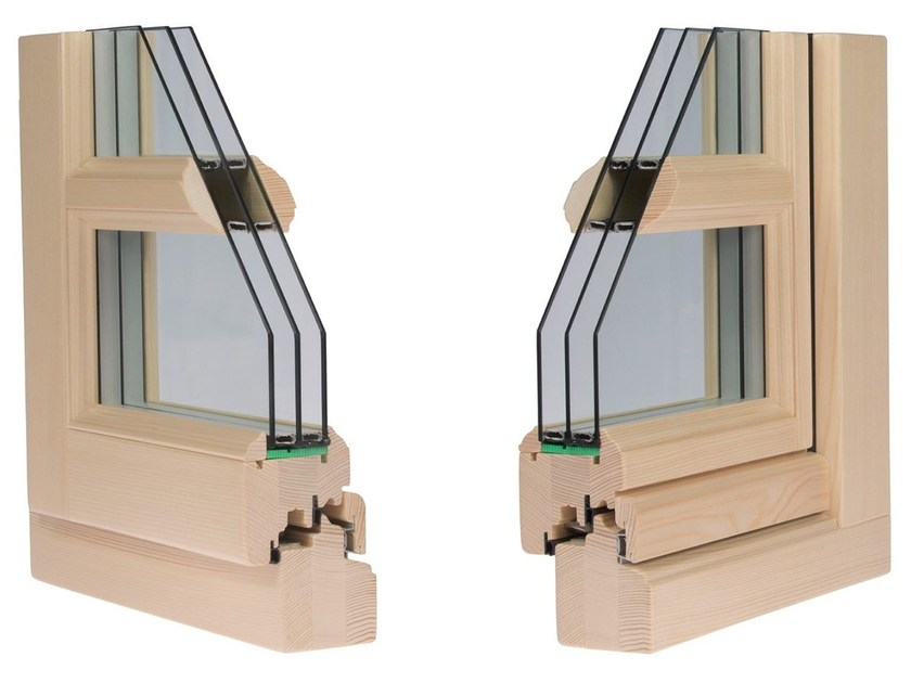 Finestra in legno con triplo vetro antika 80 alpilegno - Finestre in legno con doppio vetro ...