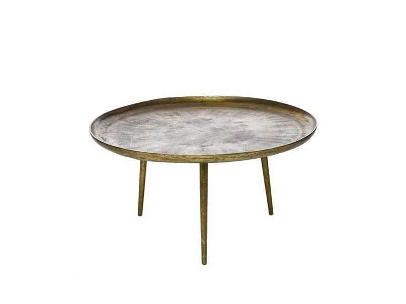 Round die cast aluminium coffee table ANTIQUE BRASS | Round coffee table - Pols Potten