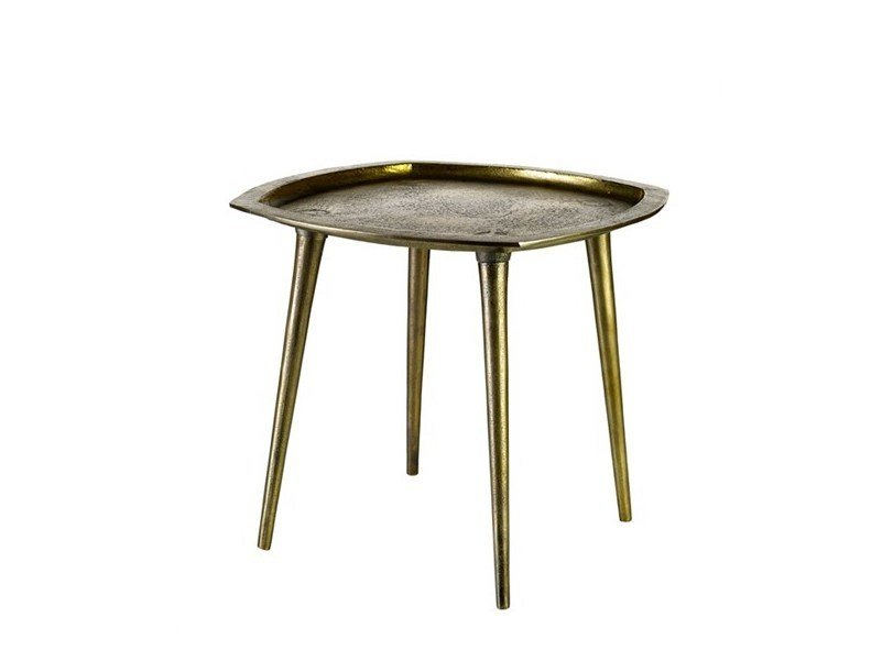 Square die cast aluminium coffee table ANTIQUE BRASS | Square coffee table - Pols Potten