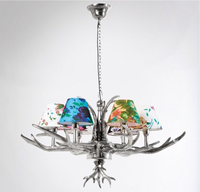 Indirect light metal pendant lamp ANTLER FLOWERS 6-BRANCHED - KARE-DESIGN
