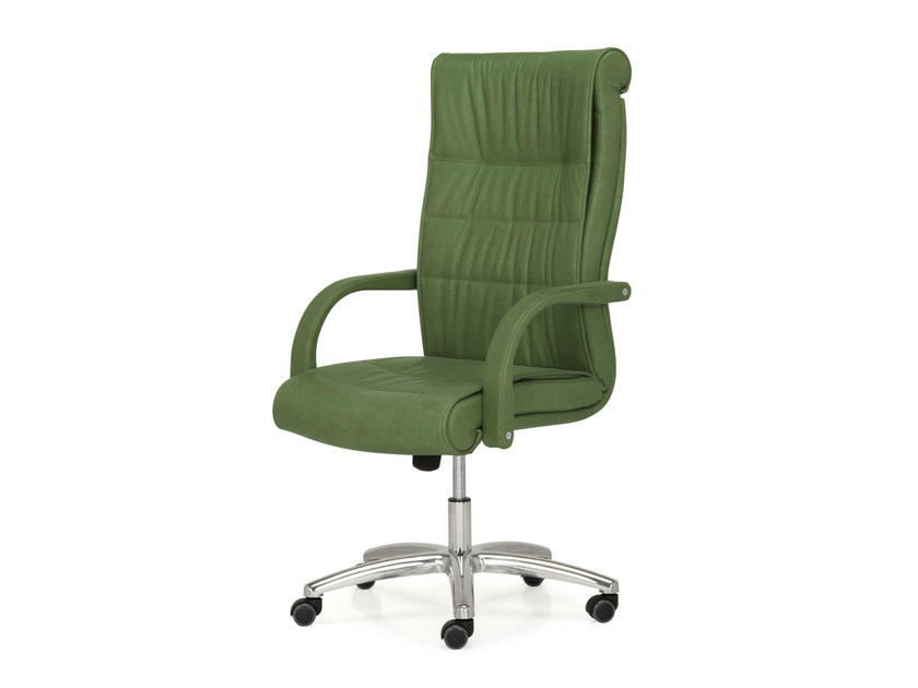 Height-adjustable high-back leather executive chair with 5-spoke base APOLLO | High-back executive chair - Quinti Sedute