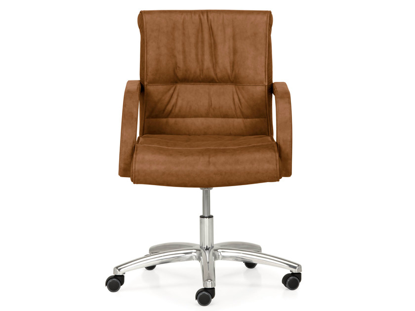Height-adjustable leather executive chair with 5-spoke base with armrests APOLLO | Executive chair - Quinti Sedute