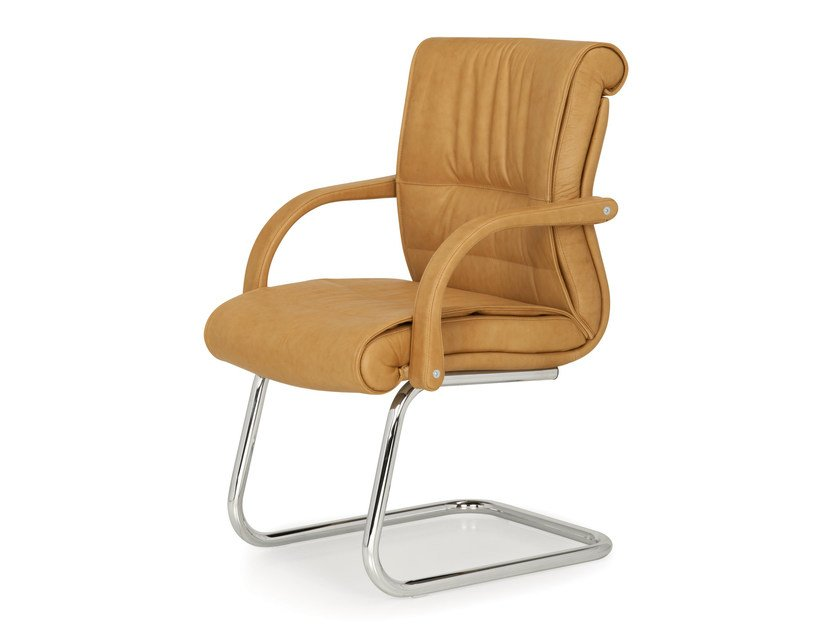 Cantilever leather chair with armrests APOLLO | Cantilever chair - Quinti Sedute