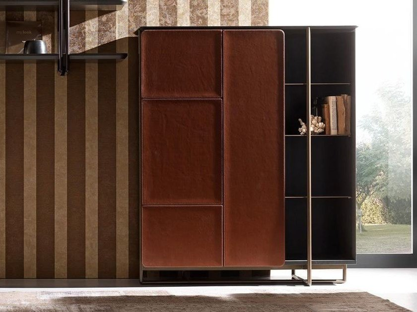 Leather highboard with doors APOTEMA | Highboard - Esedra by Prospettive