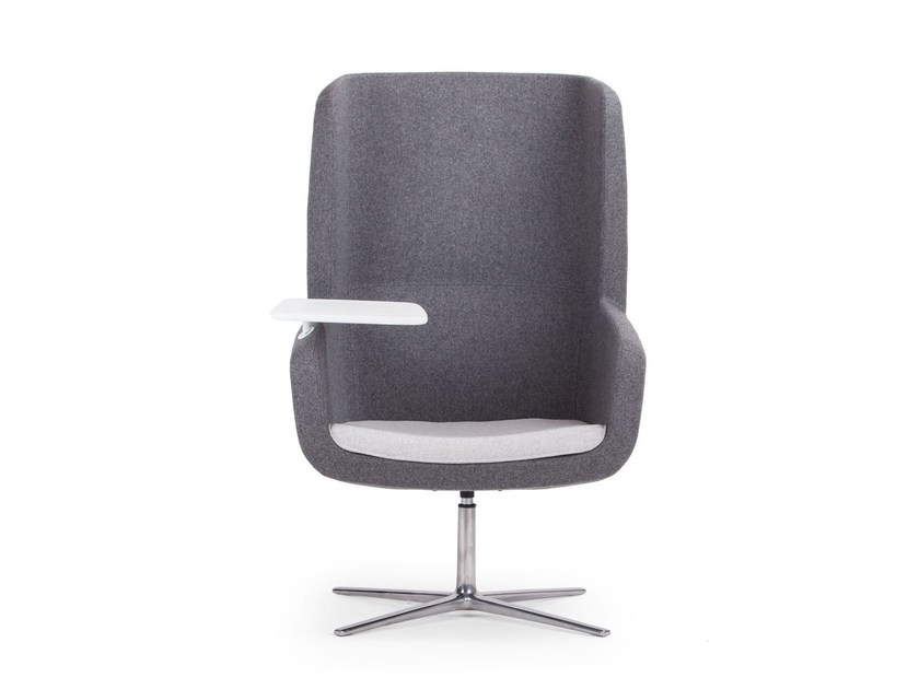 Easy chair with 4-spoke base with armrests high-back ARCA | Easy chair high-back - True Design