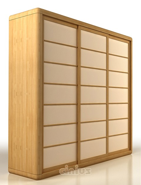 Beech wardrobe with sliding doors ARCA | Wardrobe - Cinius