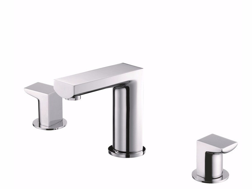 3 hole countertop brass washbasin tap ARCH | Countertop washbasin tap - JUSTIME