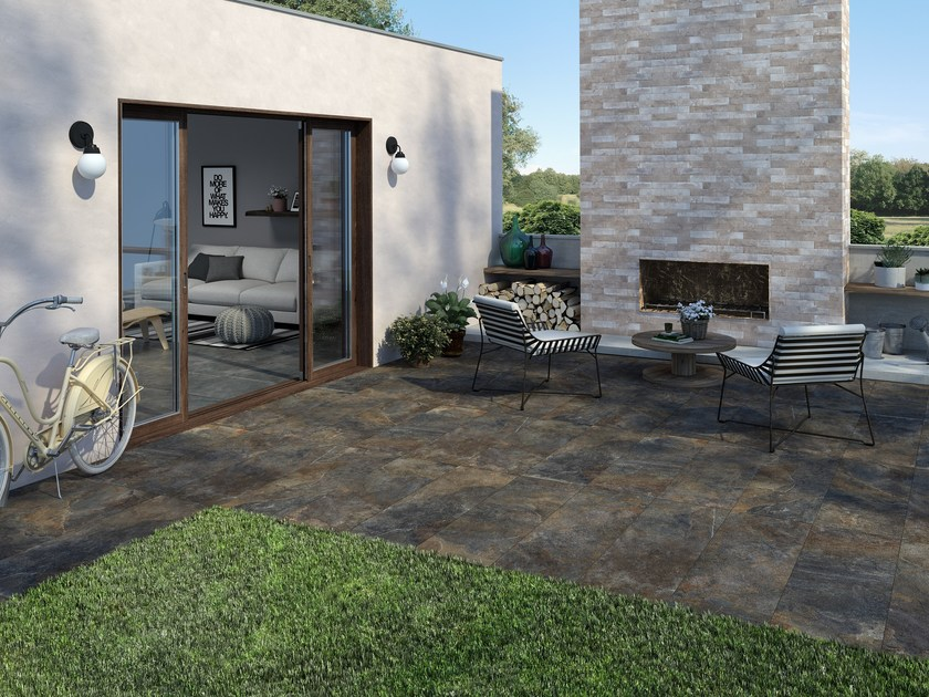 Indoor/outdoor porcelain stoneware wall/floor tiles with stone effect ARDESIE by Ceramica Rondine
