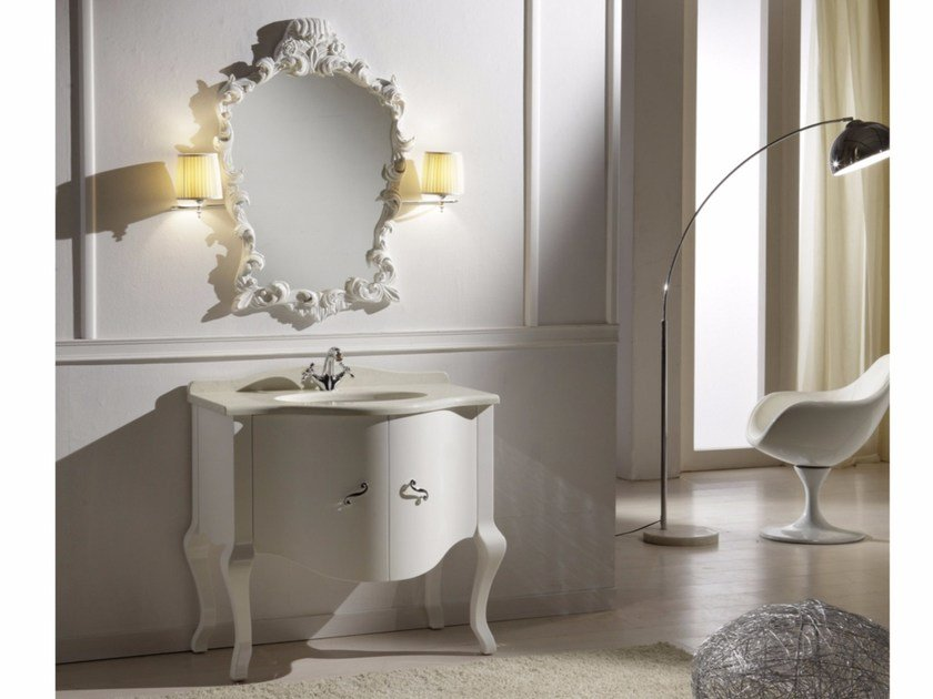 Lacquered wooden vanity unit with doors with mirror ARGO CM14CY - LA BUSSOLA