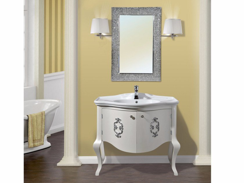 Lacquered vanity unit with doors with mirror ARGO CM25CY - LA BUSSOLA