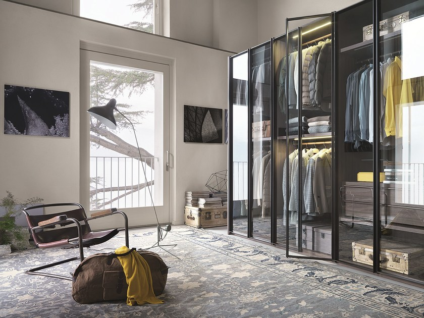 Glass and aluminium wardrobe custom ARIA by Lema