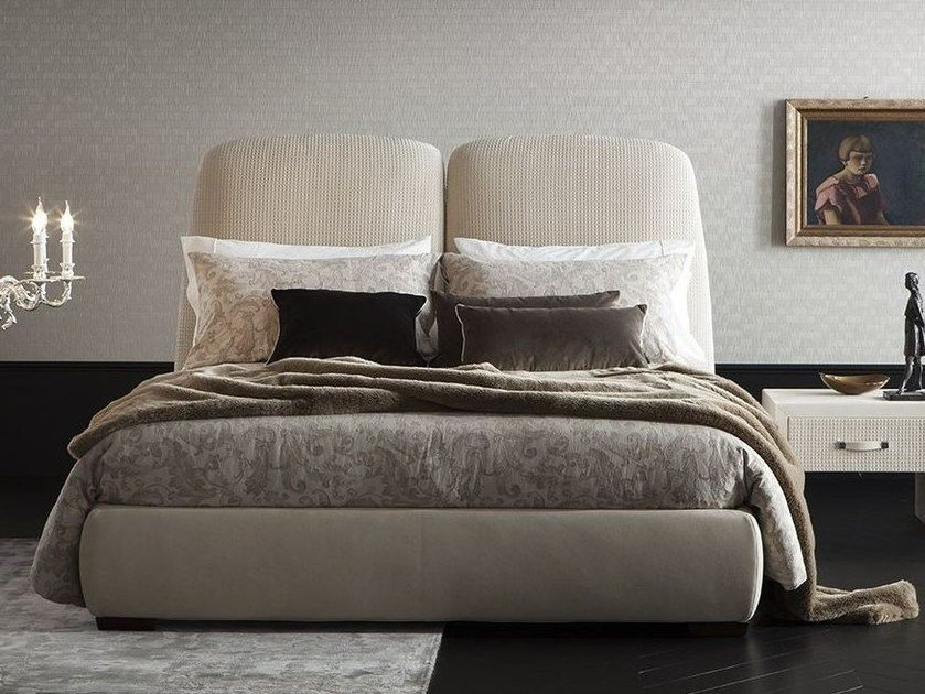 Imitation leather double bed with removable cover with upholstered headboard ARIELL by Chaarme