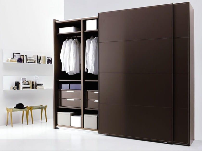 Tanned leather wardrobe with sliding doors ARKON - EmmeBi