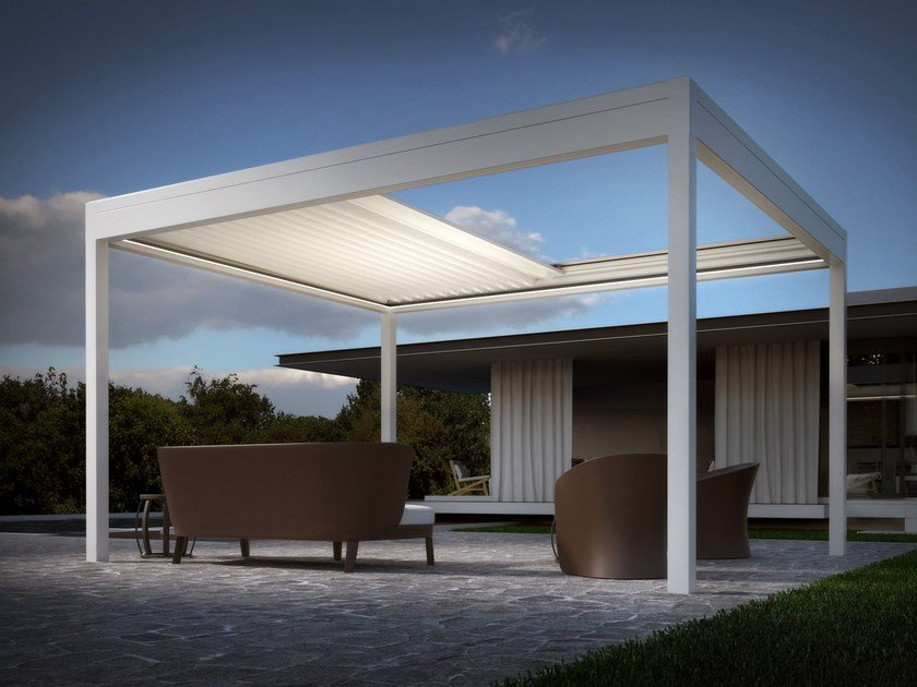 Freestanding aluminium pergola with sliding cover ARMONIA ISOLA - DIRELLO