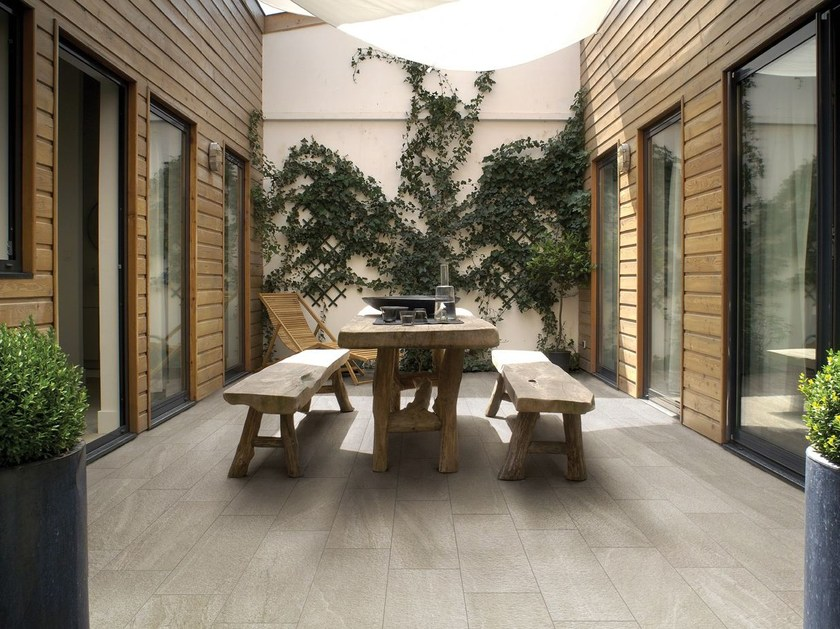 Porcelain stoneware outdoor floor tiles with stone effect ARTICA ROC by Saime Ceramiche