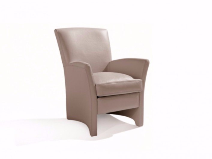 Leather armchair with armrests ASET - Canapés Duvivier