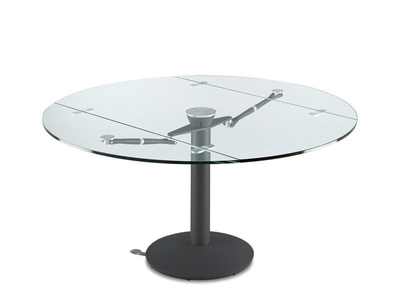 Tavolo allungabile da pranzo rotondo in cristallo atlante tavolo allungabile naos - Tavolo rotondo allungabile cristallo ...