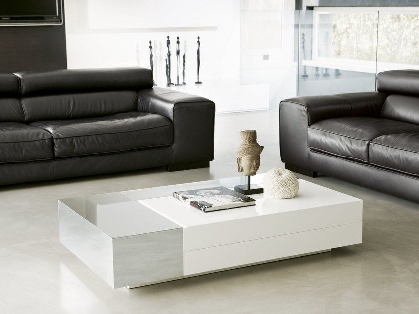 Low rectangular coffee table ATOLLO | Coffee table with storage space by Pacini & Cappellini