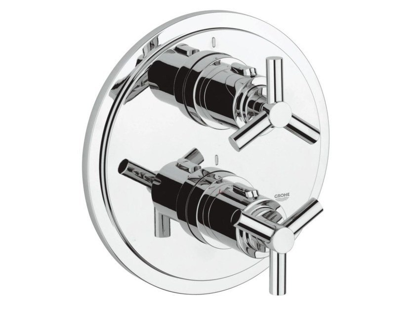 Thermostatic shower mixer with plate ATRIO CLASSIC YPSILON | 2 hole thermostatic shower mixer - Grohe