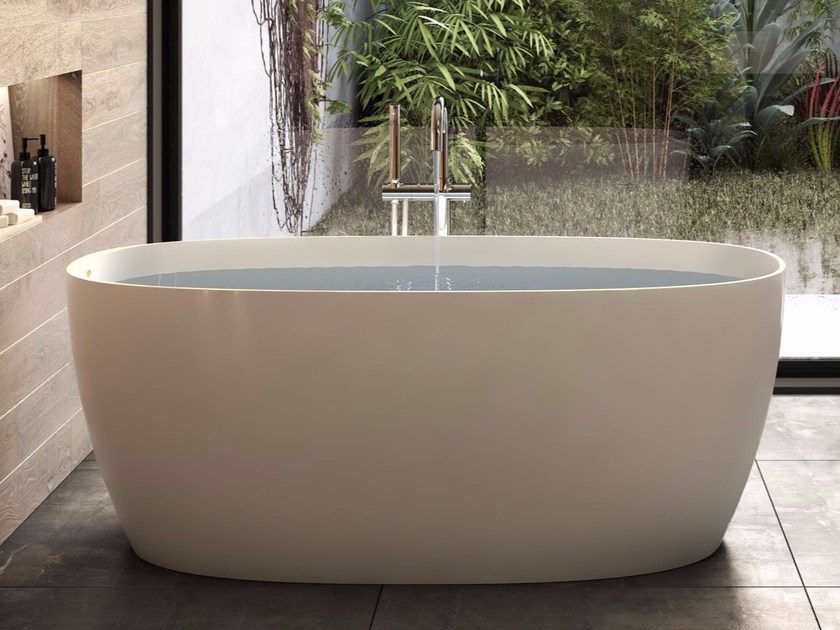 Freestanding composite material bathtub ATTITUDE by Jacuzzi Europe