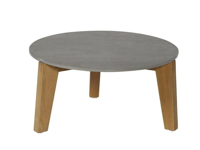 Round ceramic garden side table ATTOL | Ceramic coffee table - OASIQ