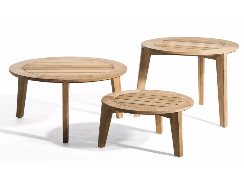 Round teak garden side table ATTOL | Teak coffee table - OASIQ
