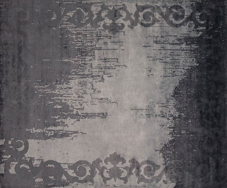 Handmade rectangular custom rug AUGUSTIN ARTY ANTHRACITE - EDITION BOUGAINVILLE